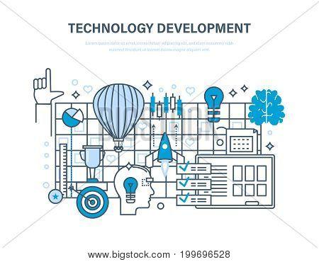 Technology development concept. Start-up, creative, modern information technology, business processes, implementation of ideas. Illustration thin line design of vector doodles, infographics elements.