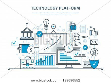 Technology platform. Cloud storage and network. Business, financial and innovative technological platform. Trading, auctions. Illustration thin line design of vector doodles, infographics elements.