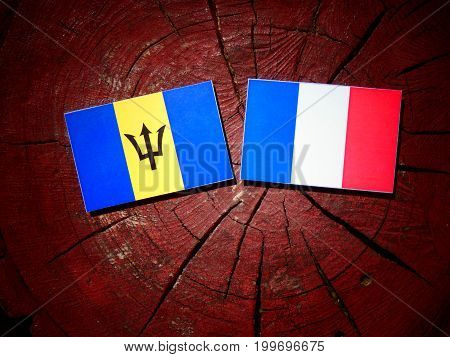 Barbados Flag With French Flag On A Tree Stump Isolated