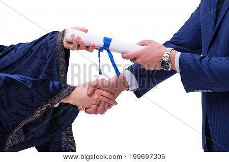 Student receiving diploma after graduation
