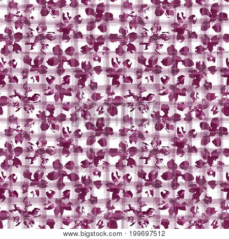 Floral watercolor ornament on geometric plaid texture. Seamless pattern, mulberry tint. Watercolour background in trendy color.