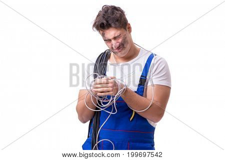 Funny man doing electrical repair