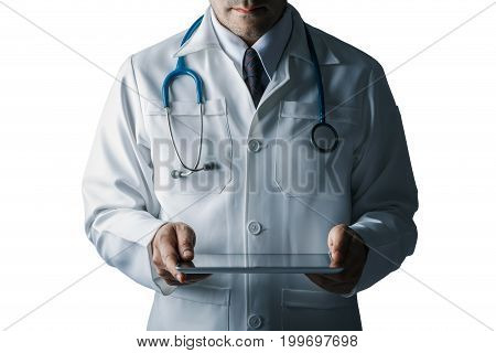 Doctor with stethoscope and tablet computer isolated on white background cutout still life style concept of Technology medical to treat patients clipping parts