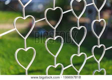 Fence made from Curved steel has heart shaped