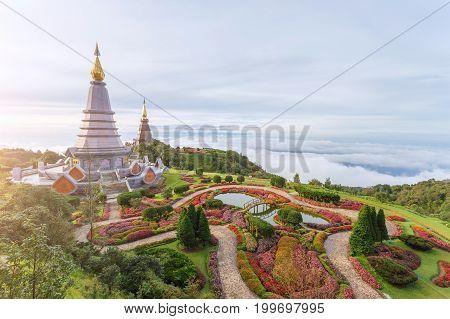 Landscape of two pagoda (noppha methanidon-noppha phon phum siri stupa) in an Inthanon mountain chiang mai Thailand