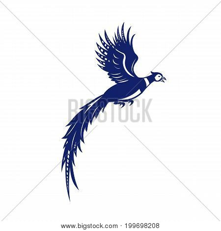 Illustration of pheasant bird fowl Phasianinae flying viewed from the side set on isolated white background done in retro style.