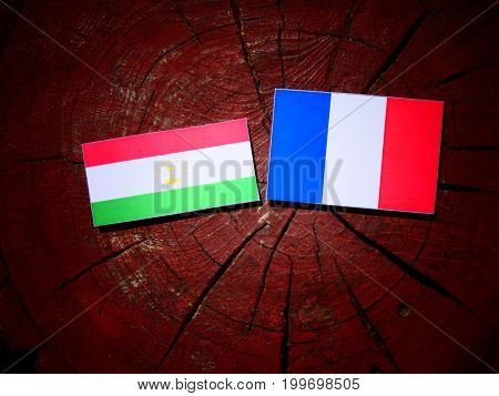Tajikistan Flag With French Flag On A Tree Stump Isolated