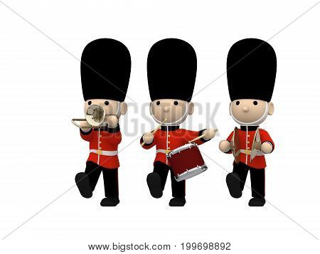 Queen's Guard in traditional uniform playing instruments, British soldiers no shadow on the ground, 3D illustration