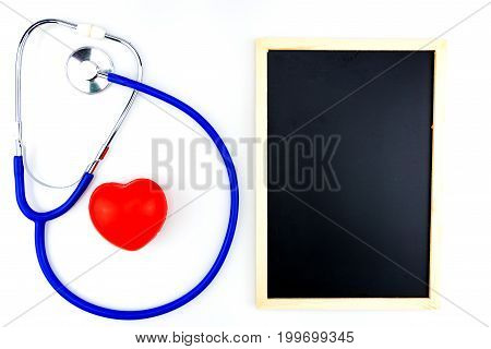 Blue Stethoscope Isolated And Red Heart On White Background