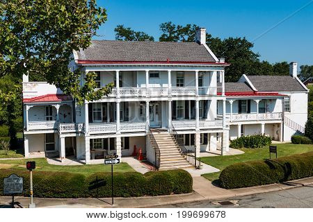HAMPTON, VIRGINIA - JULY 9, 2017:  Built in 1819, Quarters No. 1 on the grounds of Fort Monroe, was the place where President Abraham Lincoln planned the attack on Norfolk during the Civil War.