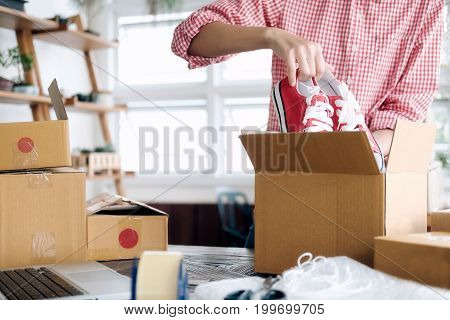 Young Startup Entrepreneur Small Business Owner Working At Home, Packaging And Delivery Situation.