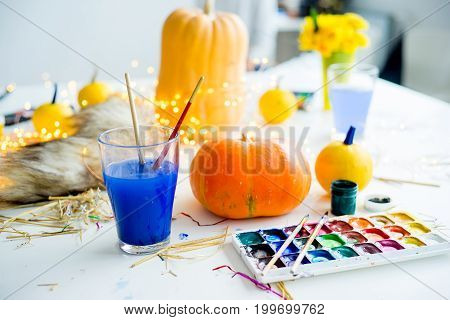 Set of things necessary to prepare for a halloween