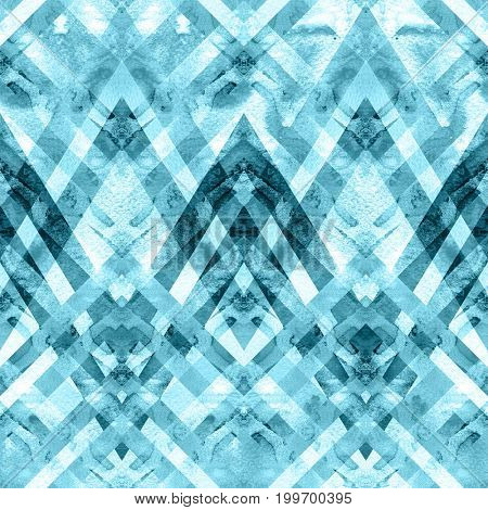 Seamless retro geometric pattern with zigzag lines. Blue watercolor background.