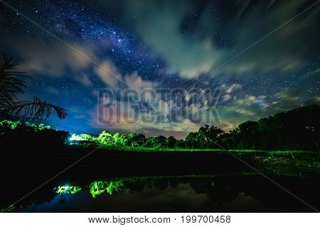 Blue Night Starry Sky Above Countryside, Lake And Green Field.  Night View Of Natural Milky Way Glow