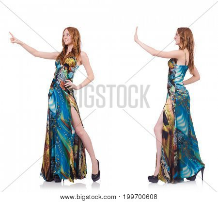 Model in nice dress isolated on white