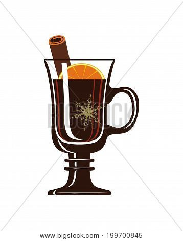 Mulled wine isolated icon. Traditional winter hot drink, christmas alcoholic warm beverage vector illustration.