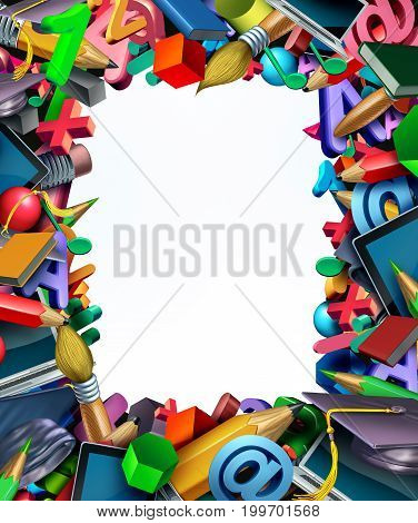 School supplies frame border background and learning tools as a computer tablet pencils and book and learning icons shaped in a framed design with empty white background copy space or text area as a 3D illustration.