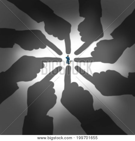 Choosing an employee or accusing a person as a businessman standing with the shadows of giant fingers pointing at the selected employee or candidate in a 3D illustration style.