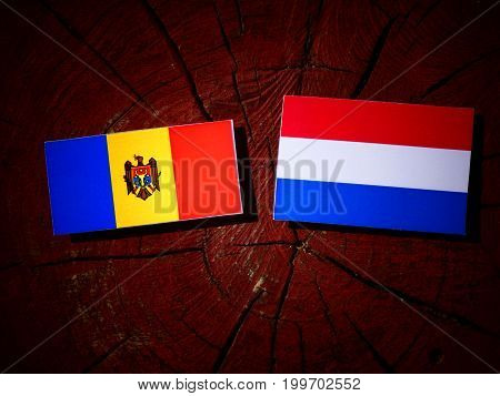 Moldovan Flag With Dutch Flag On A Tree Stump Isolated