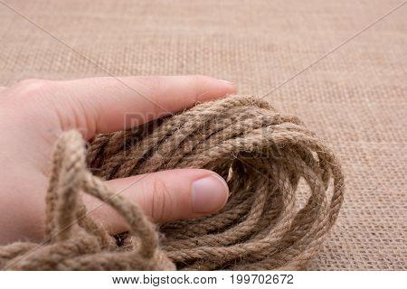 Bundle Of Linen Rope  In Hand