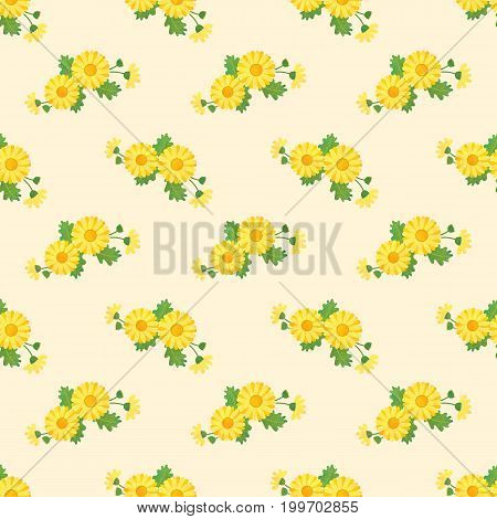 Seamless Background Image Colorful Watercolor Texture Botanic Flower Leaf Plant Asteraceae Yellow Da