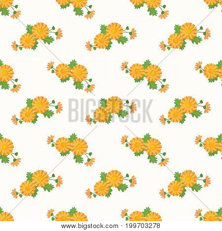 Seamless Background Image Colorful Watercolor Texture Botanic Flower Leaf Plant Asteraceae Orange Da
