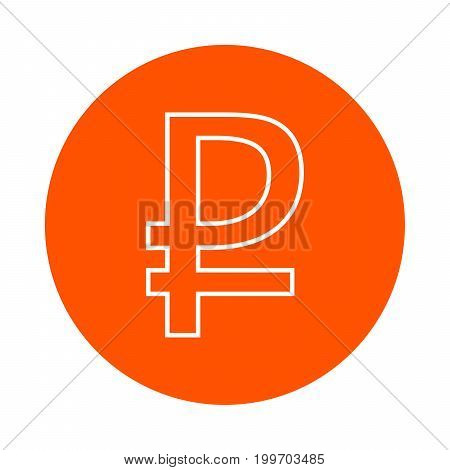 Symbol of the Russian ruble vector round line icon flat style
