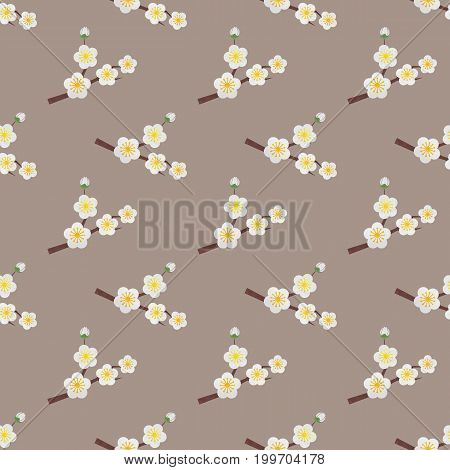 Seamless Background Image Colorful Watercolor Texture Botanic Flower Leaf Plant White Plum Blossom