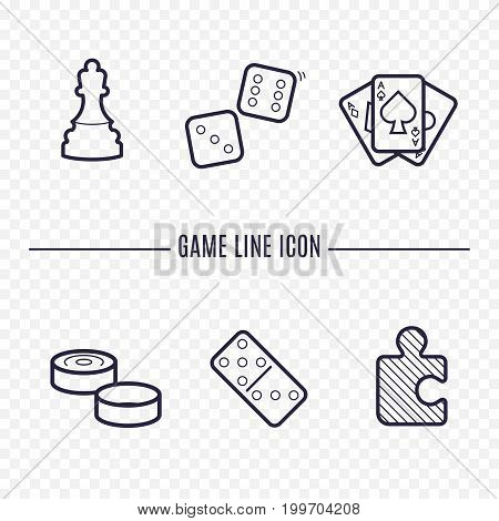 Games linear icons. Chess, dice, cards, checkers and other board games. Game thin linear signs. Outline concept for websites, infographic, mobile app.