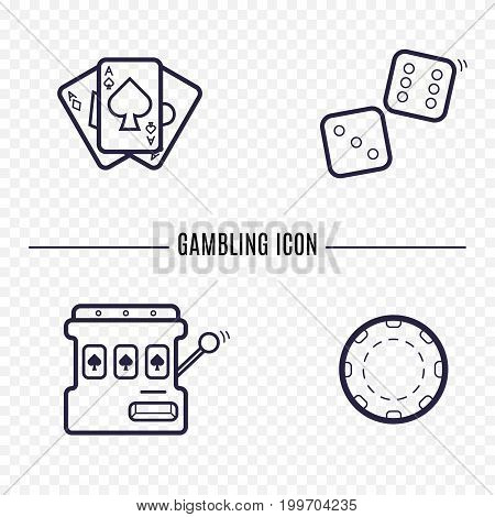 Gambling simple line icon. Card, dice, casino chip, slot mashine thin linear signs. Outline casino game simple concept for websites, infographic, mobile app.
