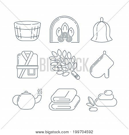Spa, sauna relax linear icons. Fireplace, mitt, herbal tea, sauna broom and other accessories for the bath. Health and body care thin line icons.