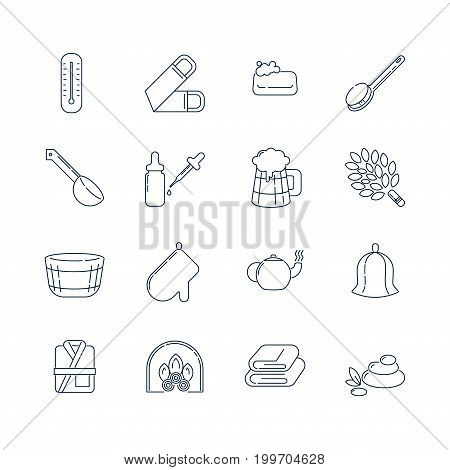 Spa, sauna linear icons. Washcloth, soap, ladle, aromatic oil, beer, broom for a bath and other accessories for spa relaxation. Health and body care thin line icons.