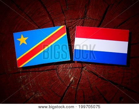 Democratic Republic Of The Congo Flag With Dutch Flag On A Tree Stump Isolated