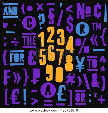 Geometric vector numbers and symbols on black background. Lettering typography. English alphabet. Elements for design.