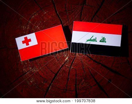 Tonga Flag With Iraqi Flag On A Tree Stump Isolated