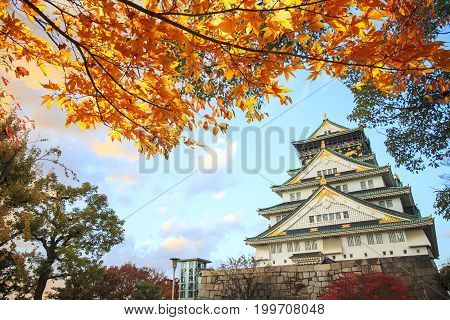 Beautiful Osaka Castle In Osaka With Nice Background, Japan