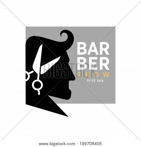 Barber show 21-22 July promotional logotype with mans profile black silhouette, sharp scissors for haircut and grey square with sign isolated monochrome vector illustration on white background.