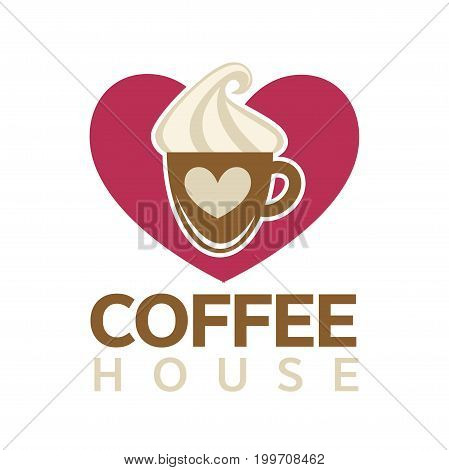 Coffee house emblem with cup of hot drink with thick sweet cream layer and pink heart behind isolated vector illustration on white background. Cafe with delicious beverages promotional logotype.