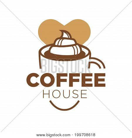 Coffee house logotype with thick sign, big cup full of delicious hot drink with curls of tender cream on top and small heart behind isolated cartoon flat vector illustration on white background.
