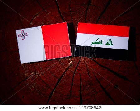 Maltese Flag With Iraqi Flag On A Tree Stump Isolated