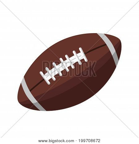 Brown leather ball with stitches of oblong shape for American football isolated vector illustration on white background. Equipment for contact team game, that developed from rugby and football.