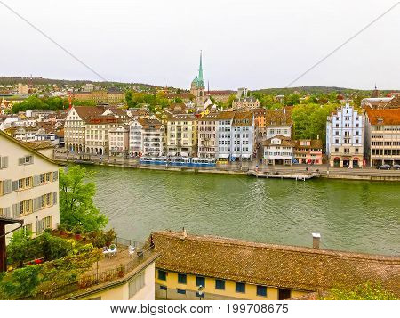 Beautiful view of Zurich and river Limmat at Switzerland