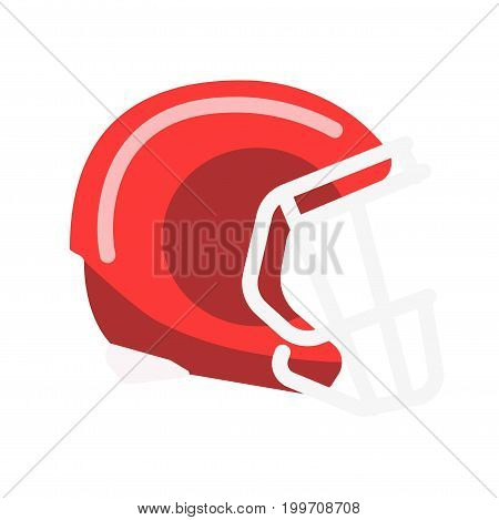 Red shiny solid helmet with lattice on facial part isolated cartoon flat vector illustration on white background. Equipment for american football. Head protection for brutal contact team game.