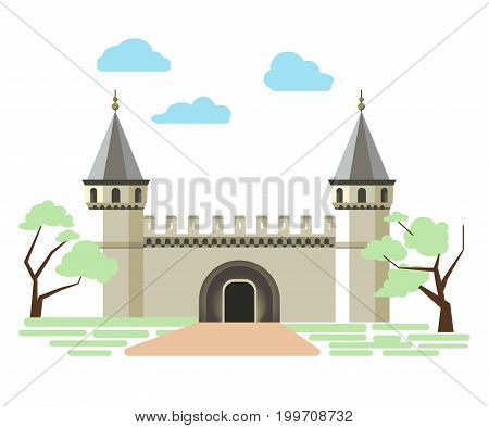 Path to small ancient brick castle that has two towers with cone roofs and spires on top, placed between trees with green foliage on neat lawn isolated vector illustration on white background.