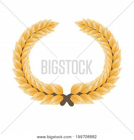 Gorgeous gold laurel wreath isolated cartoon flat vector illustration on white background. Ancient noble headgear that gives honor to person. Symbol of great glory, epic victory and total peace.