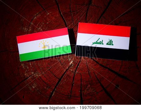 Tajikistan Flag With Iraqi Flag On A Tree Stump Isolated