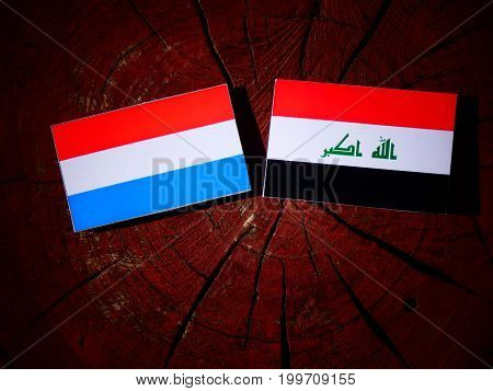 Luxembourg Flag With Iraqi Flag On A Tree Stump Isolated