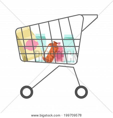 Supermarket cart with dairy products minimalistic isolated cartoon vector illustration on white background. Cardboard milk packs, paper bag with flour and plastic bottles with delicious yogurts.