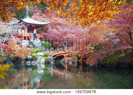 View Of Daigo-ji Temple With Colorful Maple Trees In Autumn, Kyoto, Japan