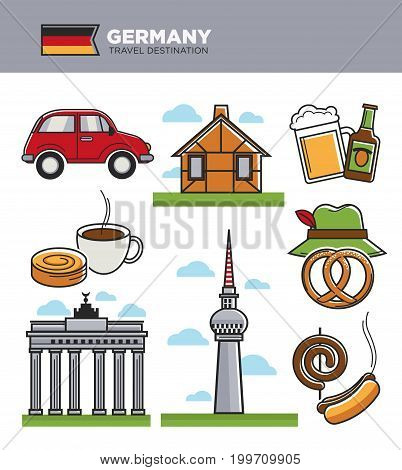 Germany travel landmark symbols and tourism culture famous attractions. German flag, Berlin TV tower at Bundestag and Brandenburg Gate, Oktoberfest beer, curry wurst sausage and beer. Vector icons set